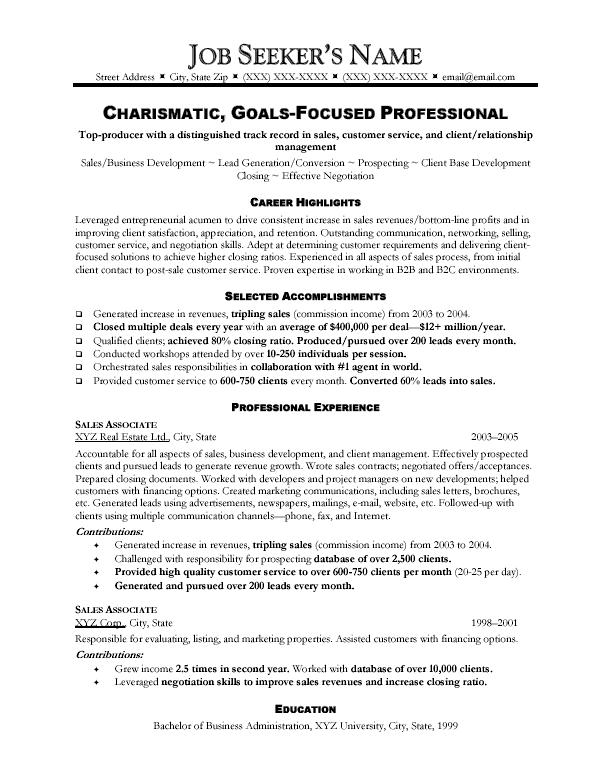 Resume Samples For Sales Sales Resume Example